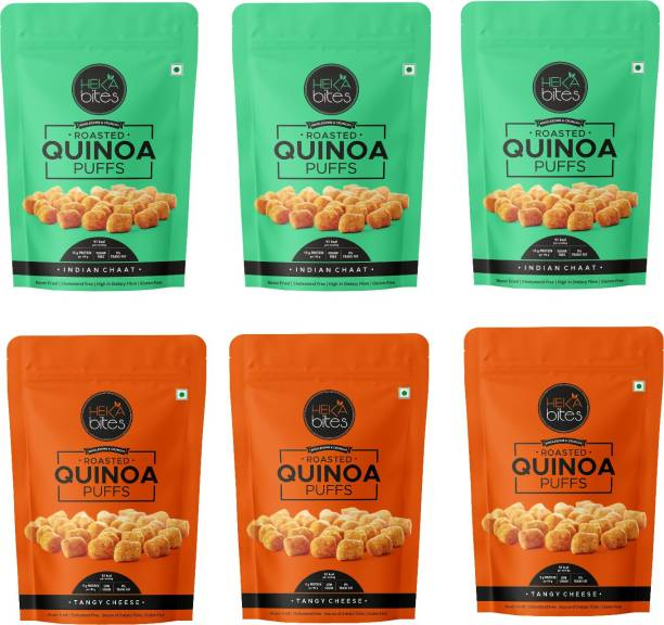 Heka Bites Roasted Quinoa Puffs - Pack of 6| Indian Chaat - Pack of 3 & Tangy Cheese - Pack of 3|93Kcal| High Protein & Dietary Fibre|Cholesterol Free| Gluten Free