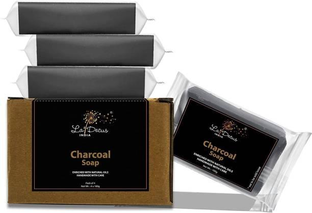 La'Decus Handmade Charcoal Bath Soap (100gm x 4)