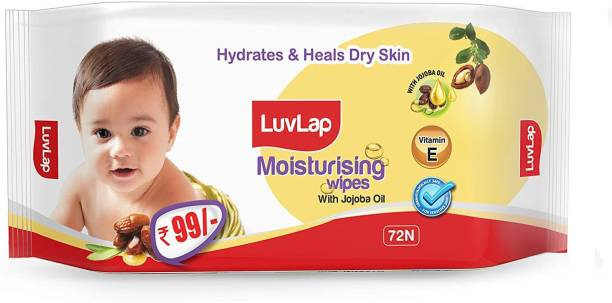 LuvLap Baby Moisturising Wipes with Jojoba Oil, 72 wipes/pack