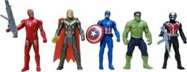ARONET Hulk, Antman, Captain America, Iron Man Thor Action Figure Toy Super Fighter 5 pcs Set (4.5) Inch, Multicolor)