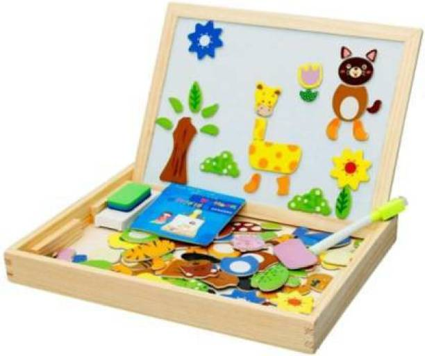 Smartcraft Art Craft pad Magnet Kit Animal Puzzle and other Learning Set in One Quality Pure Wood Toy