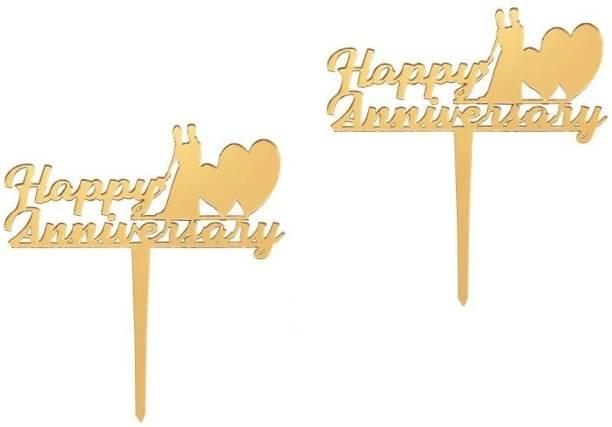 Flipkart SmartBuy Set of 2 Golden Happy Anniversay Cake Topper for Anniversay Decoration/ Happy Anniversay Party Cake Decoration Item / Special Cake Decoration for Wife / Husband Cake Topper