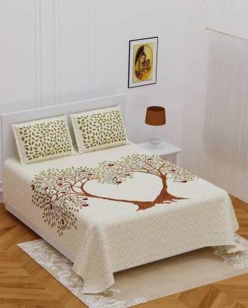 Abhi Impex 151 TC Cotton Double Jaipuri Prints Bedsheet