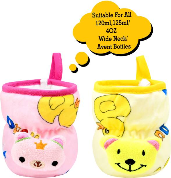 Miss & Chief Bottle Covers for Philips Avent/Broad Neck Soft Plush Stretchable Baby Feeding Bottle Cover with Strap for 125ml, 120 ml and 140 ml Feeders Pack of 2 (Pink & Yellow - 125 ML)