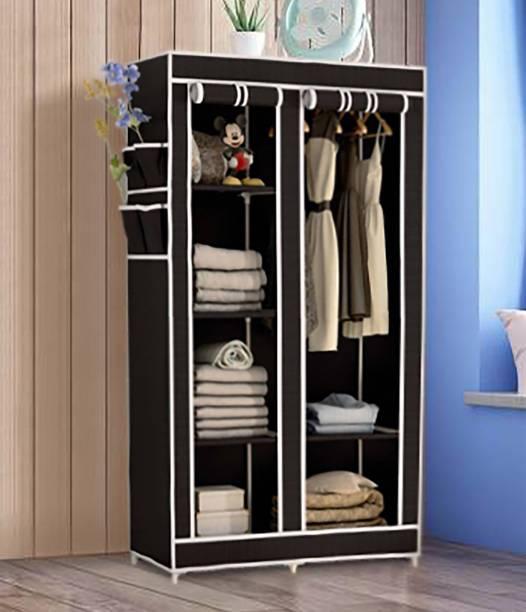 KROOH 2-Door 6-Shelf Collapsible Wedrobe Carbon Steel Collapsible Wardrobe