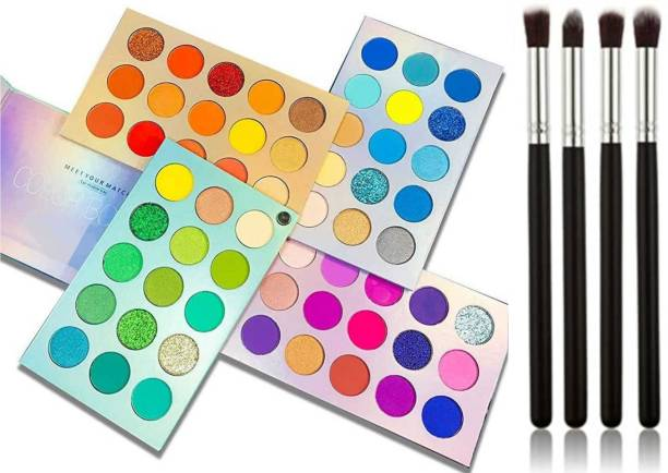 Bingeable A Colorful Matte Afterglow Beauty Glazed Color Board High Pigmentation 70 Colors Eyeshadow Palette (Compact Powder,Blusher & Lip Gloss) with Pack of 4 Eye Makeup Brushes