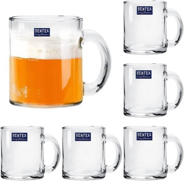 Bentex Pack of 6 Glass Big Tea Cup Set, Coffee Cup Set