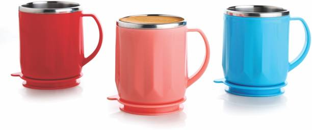 FEEDNIX Pack of 3 Stainless Steel AIR TIGHT LEAKPROOF LID AND MIRROR FINISH INNER STAINELSS STEEL TEA AND COFFEE MUG CUP