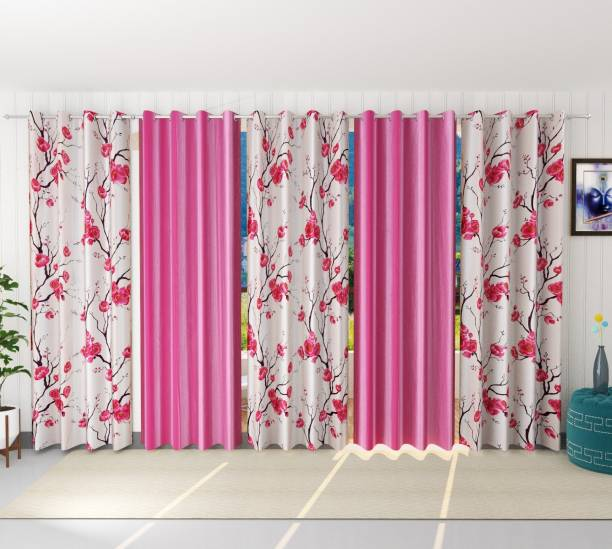 kiara Creations 153 cm (5 ft) Polyester Window Curtain (Pack Of 5)