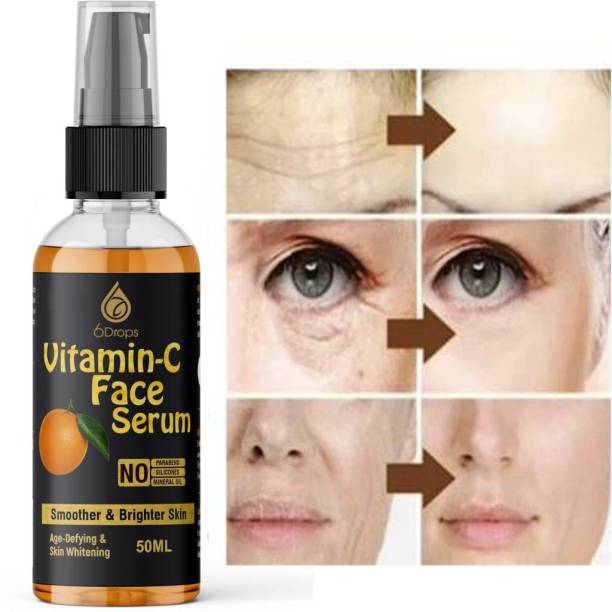 6Drops Anti-Aging Vitamin C 20% Serum - 50Ml - With Hyaluronic Acid And Vit E - Wrinkle Repairs Dark Circles, Fades Age Spots And Sun Damage (50 ml)