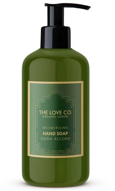 The Love Co. Hand wash Liquid, Oudh Accord Foaming Hand Wash, with essential oil, No Parabens, Silicones & Color, 100% Vegan | Cleansing and Moisturizing Gel | For Men and Women - 300 ml Hand Wash Bottle