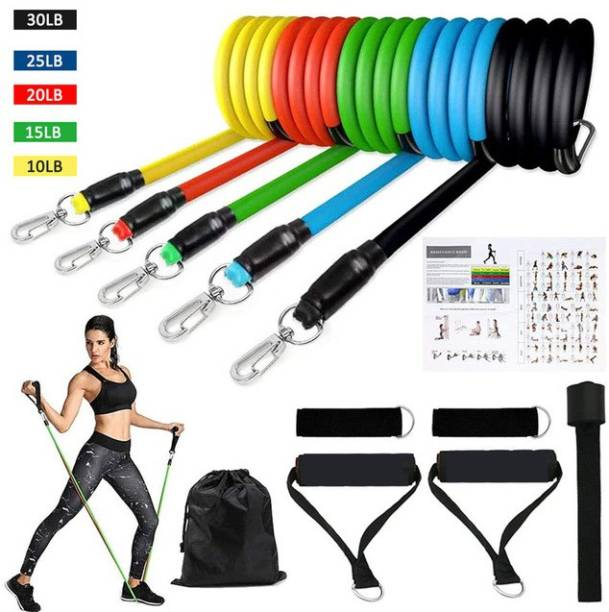 Khargadham Up To 100 LBS Stackable Resistance Tubes with Resistance Band for Full Body Workout Gym & Fitness Kit