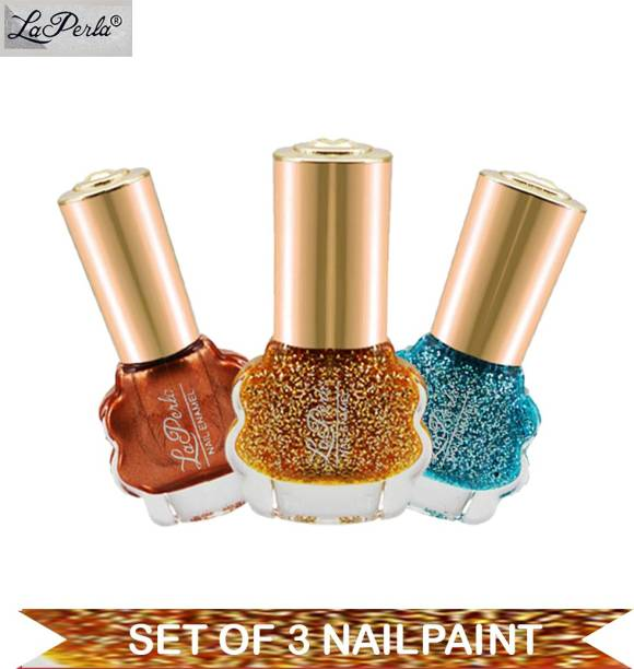La Perla CH Flower Nail Paint Copper Matte, Ice Blue Glitter, Yellow Glitter 10 ml Each Multicolor