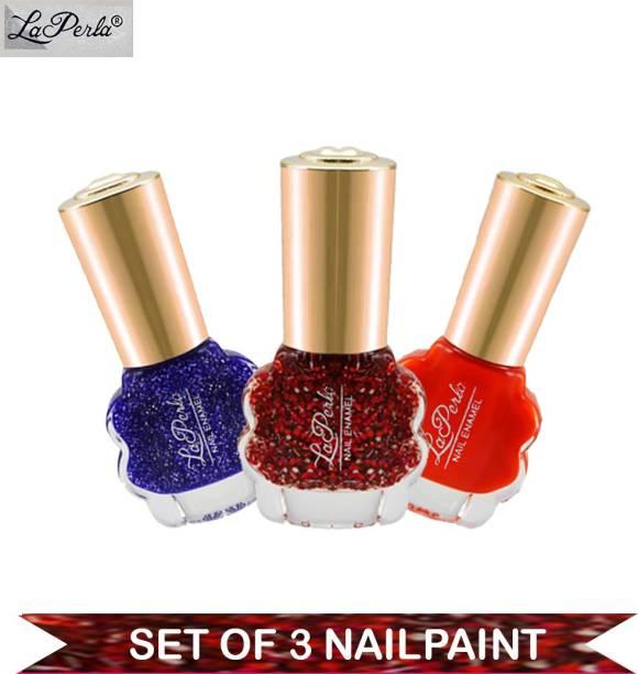 La Perla CH Flower Nail Paint Blue Glitter, Orange Matte, Red Glitter 10 ml Each Multicolor