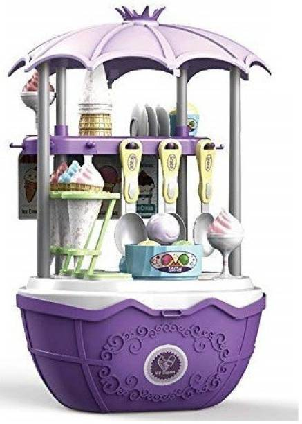 Smartcraft 2 in 1 Surprise Icecream Shop, Pretend Play Cooking Cart Play Set Toys for Kids (Multicolor)- 68 Pcs