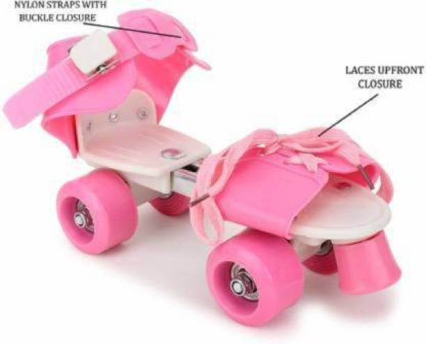 shubhcollection Adjustable Multi Color Quad Shoe Roller Skates for Boys and Girls, Inline Skating Shoes Suitable for Age Group 5 to 12 Years, Size 4-6 UK Quad Roller Skates - Size 4-6 UK (Pink) Quad Roller Skates - Size 5-12 UK UK (Pink) In-line Skates - Size 5-12 UK