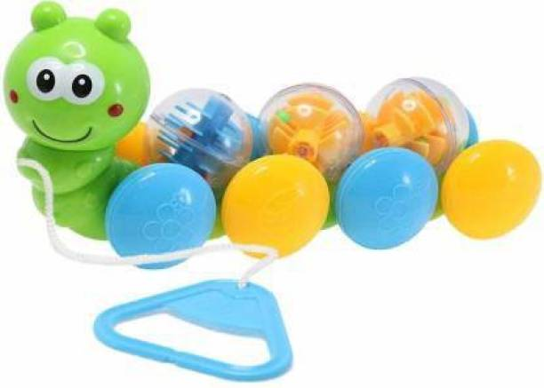 Smartcraft Rolling Draw & Drag Worm Pull Along Toys for Kids (Multicolor)