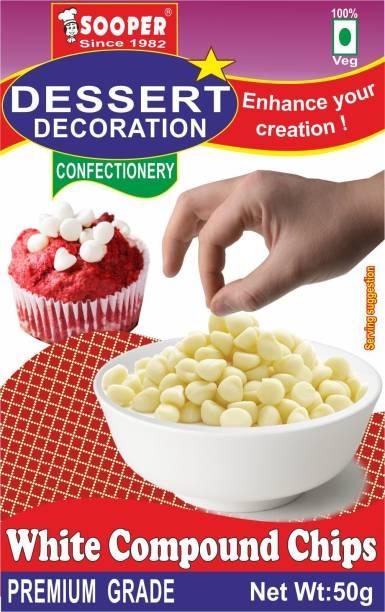 SOOPER DESSERT DECORATION WHITE COMP CHIPS 50g Chips