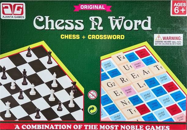 Ajanta Games Original Chess N Word( Chess+ Crossword) two in one game set ~ A combination of the most Noble Games Educational Board Games Board Game