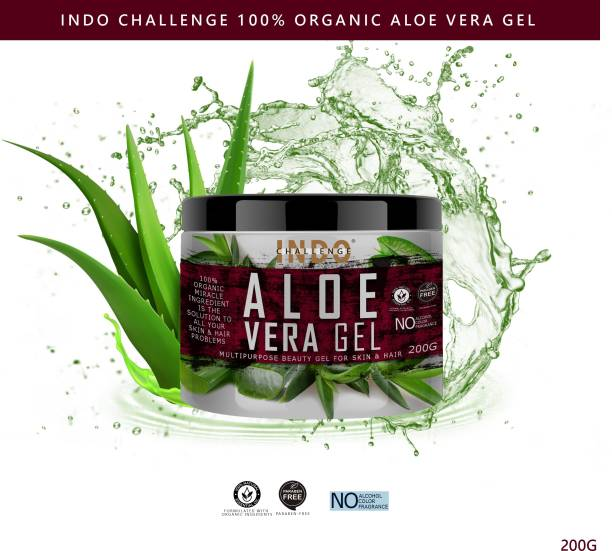 INDO CHALLENGE 99% Pure Aloe Vera Multipurpose Gel for Skin and Hair, Aloe Vera Skin Gel form 100% Pure AloeVera Plant for Face and Skin