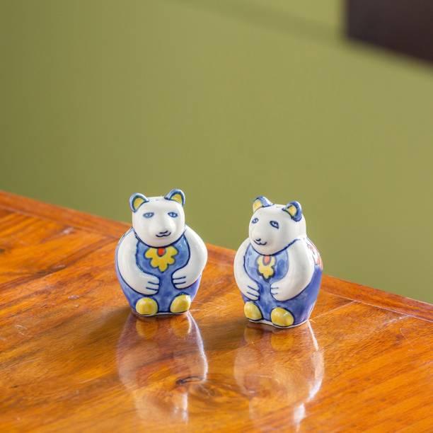 ExclusiveLane 'The Panda Twins' Hand-painted 2 Piece Salt & Pepper Set