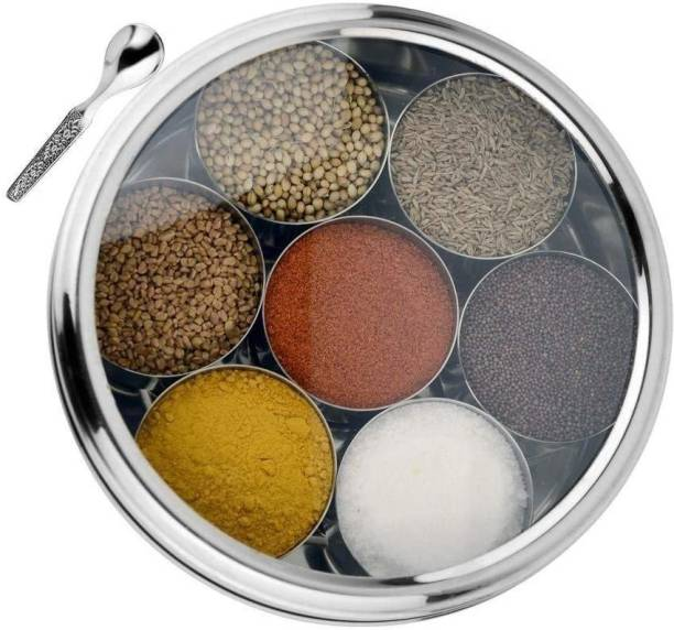 RBGIIT SMRB 11 Stainless Steel Belly Shape Masala (Spice) Box / Dabba/ Organiser with See Through Lid with 7 Containers and Small Spoon Size No. 11 (18.4cm Dia) (1.5 Ltr Capacity) 1 Piece Spice Set (Steel) 1 Piece Salt & Pepper Set