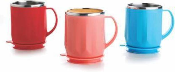 HELOVIA Pack of 3 Stainless Steel TEA AND COFFEE MUG
