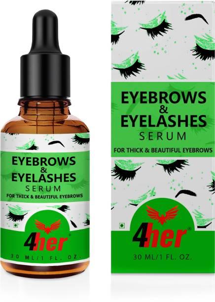 4her Eyebrow & Eyelash Growth Oil - Enhances Eyebrow & Eyelash Growth, Eyebrow & Eye Lash Growth Oil, Aragan, Almond, Castor & Walnut Super Formula, Soothing & Growth, All Skin Types 30 ml