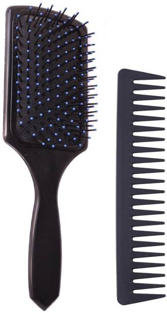 E-DUNIA Square Paddle Hair Brush with Anti-Static Carbon Wide Tooth Comb Durable Heat Resistance Salon Barber Professional Hair Styling Brush Comb Set
