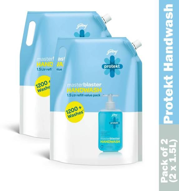 Godrej Protekt Masterblaster Handwash Refill-1500 ml Pack of 2 (3000ml) Hand Wash Refill Pouch