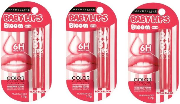MAYBELLINE NEW YORK PEACH BLOOM LIP BALM EACH 1.7 COMBO OF OF 3 FRUIT