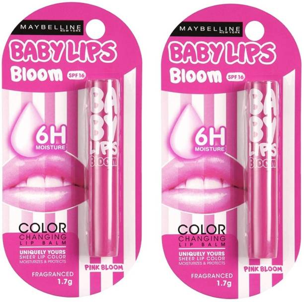 MAYBELLINE NEW YORK PINK BLOOM LIP BALM COMBO OF 2 EACH 1.7 G FRUIT