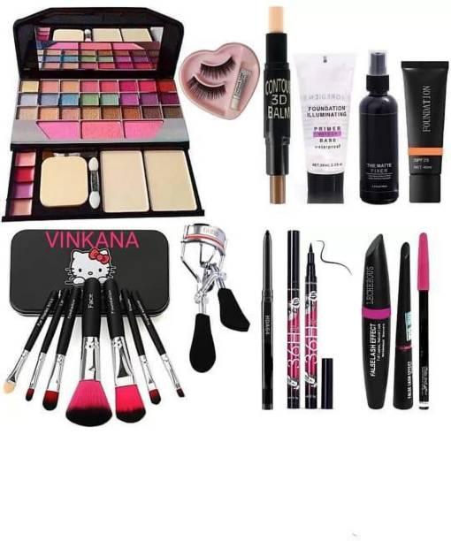 vinkana 7pcs Makeup Brush set with TYA makeup kit,3D contour stick,Primer, Fixer, high quality foundation, Kajal, Waterproof 36H Sketch eyeliner and 3in1 Combo set ,eyelashes curler and eyelashes with glue (Pack of 19)