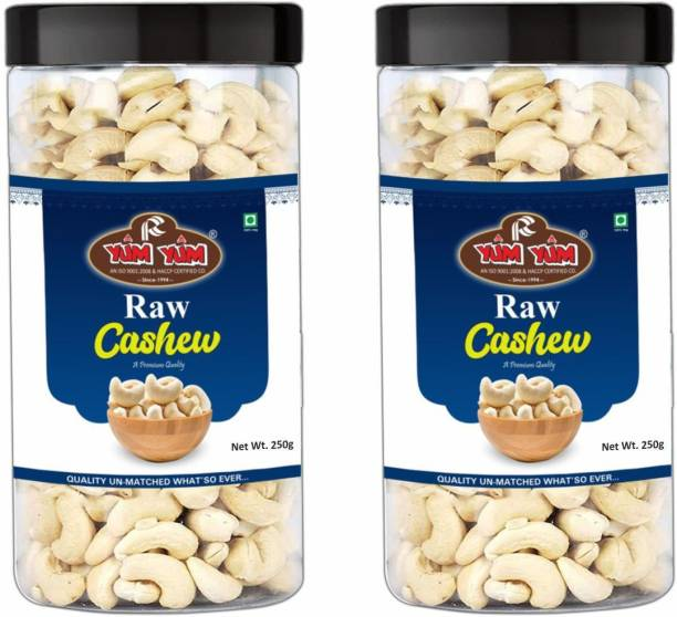 YUM YUM Premium Raw Cashew Nut Kaju 500g (Pack of 2 -250g Each) Cashews