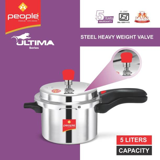 People ISI CERTIFIED With Double Screw Handle & Lead Free Safety Valve 5 L Pressure Cooker