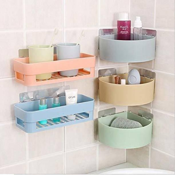 QXORE ABS Plastic Multipurpose Kitchen Bathroom Wall Holder Storage Rack, Corner Shelf (25 x 11 x 7 cm, Random Colour) -Combo of 5 Pieces Plastic Wall Shelf