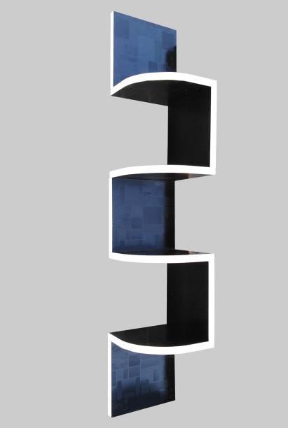 SOKHI FURNISHING Zigzag Shelf | Corner Wall Shelf | Corner Rack Shelf| Corner Shelf For Living Room | Corner Shelf For Bedroom | Corner Rack For Living Room| Corner Shelf For Office | Home Decor Wall Shelf Wooden Wall Shelf