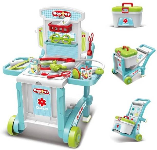 HK ENTERPRISES OFFICIAL Kids Doctor Set 3 in 1 Little Doctor Set Luggage, Doctor Kit Toys Medical Pretend Play Set on Trolley Durable Play Educational Doctor Set Clinic On Wheels