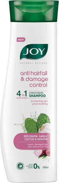 Joy Natural Actives Anti Hairfall & Damage Control 4-in-1 Multi Action Conditioning Shampoo With Red Onion Keratin, Cactus & Garlic extracts | Anti Hair Fall Conditioning Shampoo