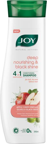 Joy Natural Actives Deep Nourishing & Black Shine 4 in 1 Multi Action Conditioning Shampoo for Dull Hair | With Apple Cider Vinegar, Amla, Back Seed & Olive Oil | Hair Conditioning Shampoo