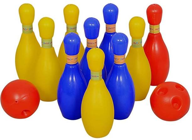 Myhoodwink Plastic Bowling set game with 10 pin bottles and 1 ball, Multicolour, 3-8 yrs, Bowling set game with 10 pin bottles and 2 ball Bowling