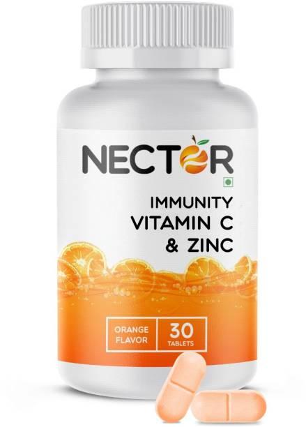 Nector Vitamin C Orange Chewable Tablets, Immunity Antioxidant & Skincare, 1 daily
