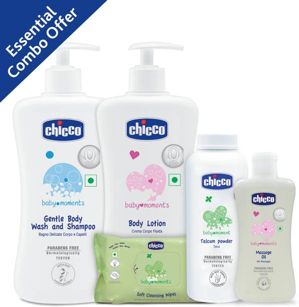 Chicco Gentle Body Wash, Talcum Powder, Massage Oil, Body Lotion And Baby Wipes Sticker 72 Pcs (Pack of 5)