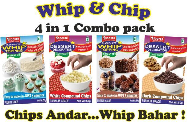 SOOPER WHIP TOPPING VAN+CHO + CHIPS CHO+WHITE COMBO 50gx4 PKTS Topping