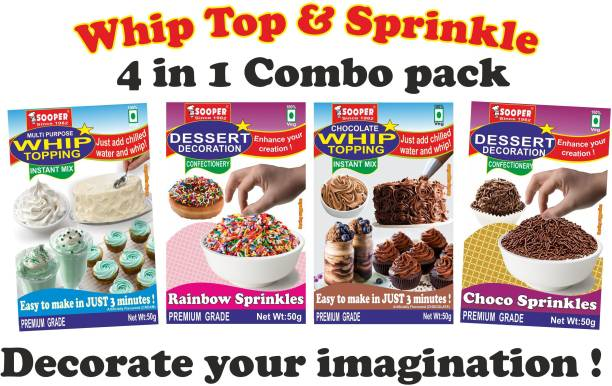 SOOPER WHIP TOPPING VAN+CHO +SPRINKLES CHO+BOW COMBO 50gx4 PKTS Topping