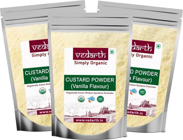 Vedarth Pack of 3 Instant Vanilla Flavour Custard Powder 250 Gram Each Custard Powder
