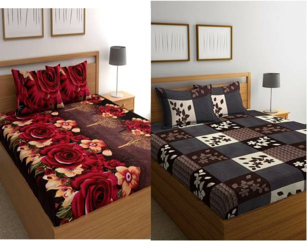 Growing Decorishing 250 TC Polycotton Double Floral Bedsheet
