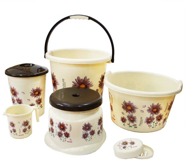 HIMALAY Super Deluxe Plastic Bathroom Set for Home with 6 piece Bucket, Tub, Patla, Dustbin, Mug, Soapcase 25 L Plastic Bucket
