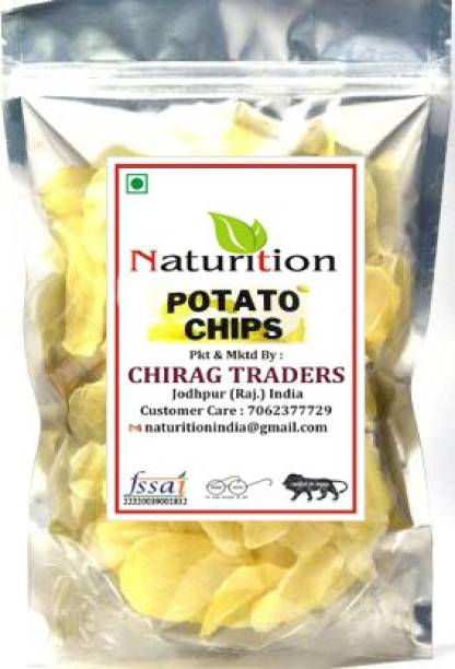 NATURITION Dry Potato Chips 900gm | Raw Potato Wafers | Ready to Fry Aalu Chips | Crunchy & Tasty Snack (900 g)