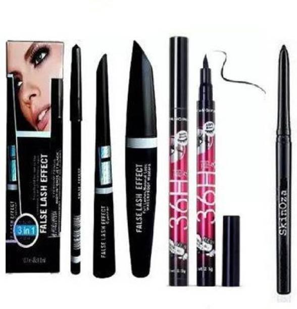SkinOza Makeup Beauty Kajal & 3in1 Eyeliner , Mascara , Eyebrow Pencil & High Quality Waterproof Liquid-Eye Liner 36H ( PACK OF 6 )